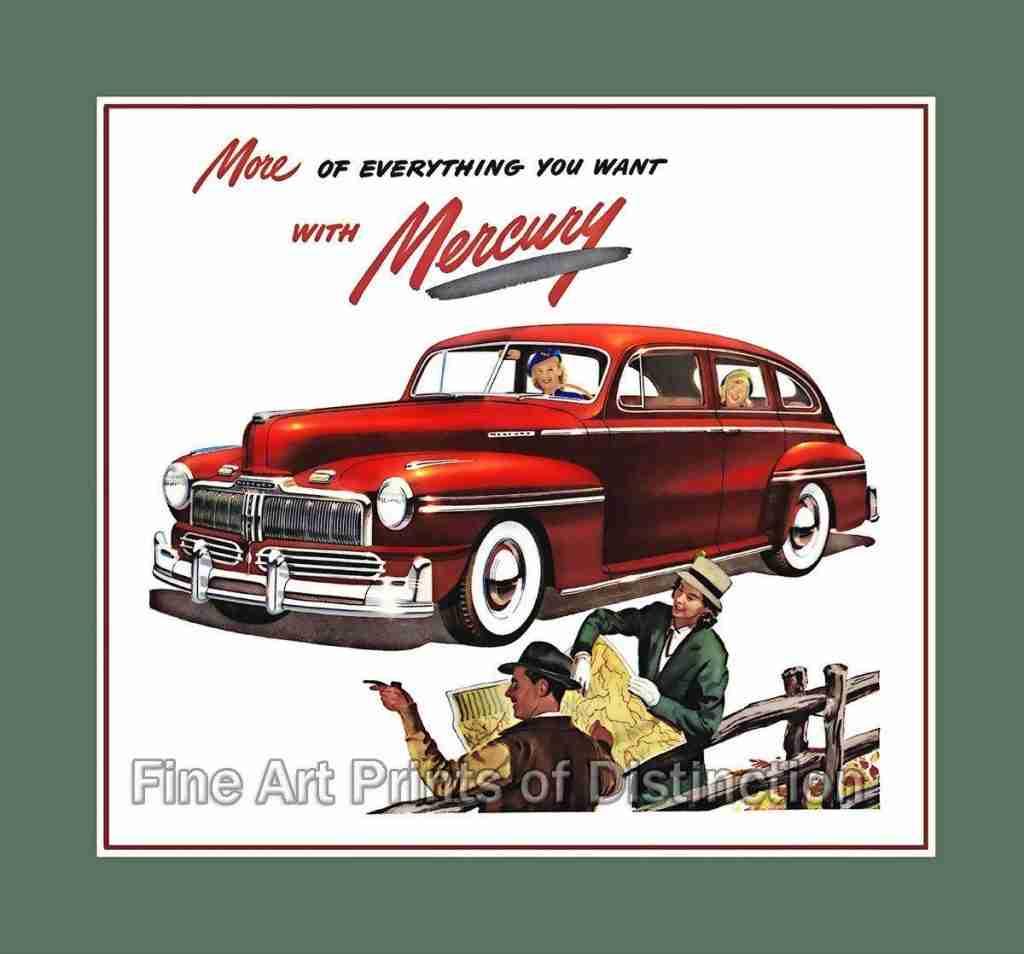 1947 Ford Mercury Eight Car Art Print – Premium Glossy Paper / 16 x 17